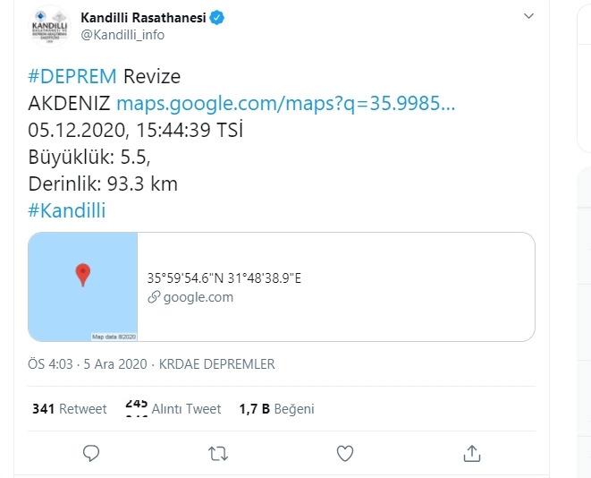 Antalya'da 5.5 büyüklüğünde deprem oldu!